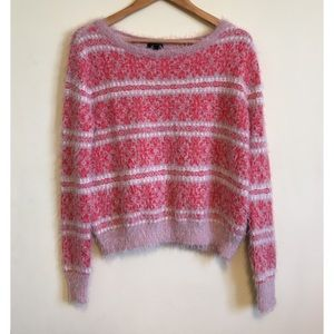 Jessica Simpson Feathered Snowflake Sweater Rose S